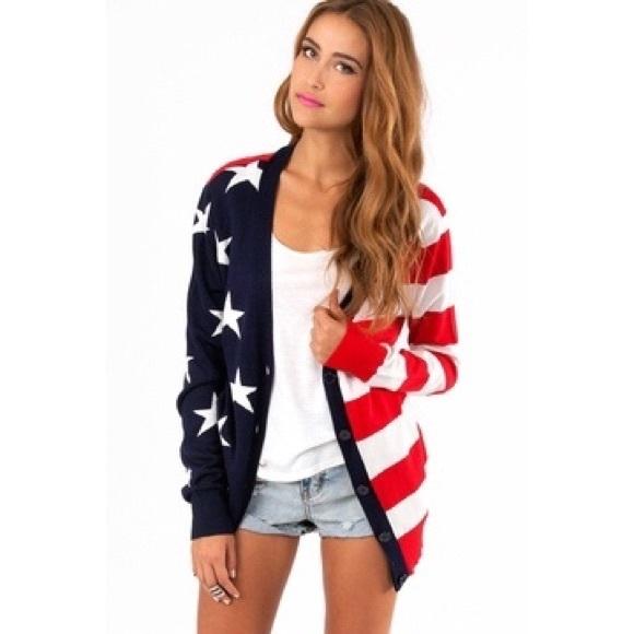 554f4efc649 Tobi American Flag Cardigan. M 5ab456ab50687c73c0b61ed8